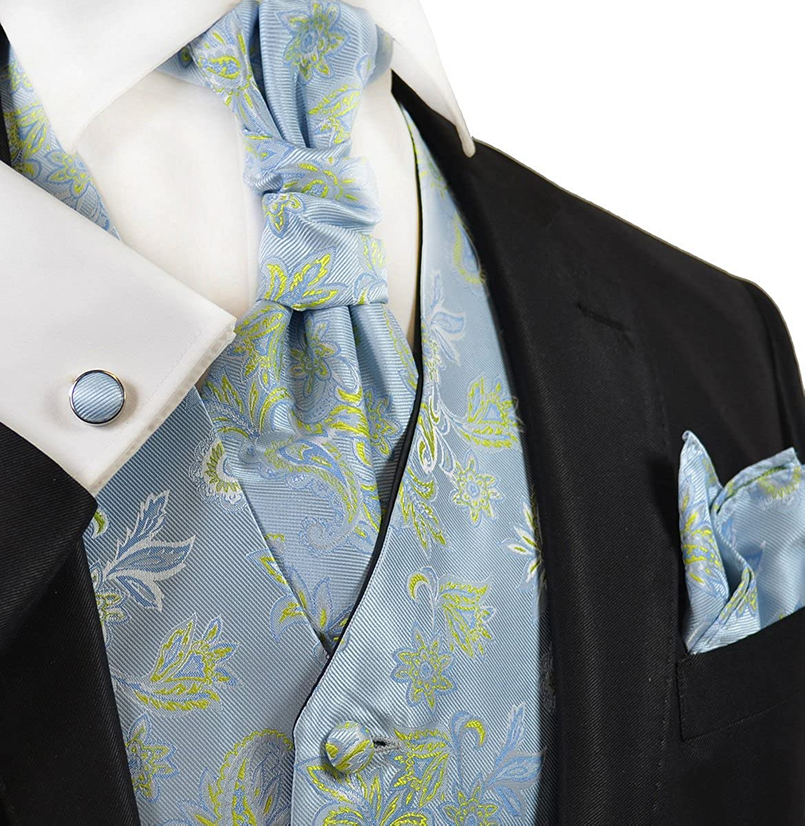Paul Malone Sky Blue and Green Wedding Vest with Tie, Cravat, Pocket Square and Cufflinks