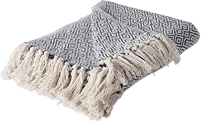 Hebel Rustic Farmhou Cotton Diamond Blanket Throw with Fringe for Chair, Couch, Picnic, Camping, Beach, Everyday U, 50 x 60 - Double Diamond French Blue | Model BLNKT - 14 | 1750 x 60 inches