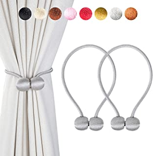 Giayouneer 2 Pack Magnetic Curtain Tiebacks - 16 Inch Strong Magnetic Decorative Curtain Buckle Holdbacks for Window Décor - 1 Pairs, Gray