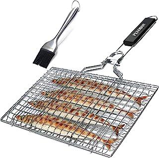 Penobon Canasta de asado de pescado Penobon, canasta de parrilla de barbacoa de acero inoxidable portátil plegable, viene con cepillo de cocina y bolsa de almacenamiento