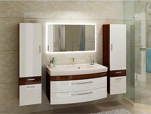 Badezimmermöbel Set Hochglanz weiß/Walnuss mit 2 x Hochschrank und modernen LED-Licht-Spiegel
