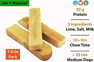 Peace Love N Paws Himalayan Hard Yak Cheese Sticks Chews - High Protein Long Lasting Tasty Natural Treats for Dogs - Only Three Premium Ingredients Milk, Lime, Himalayan Salt