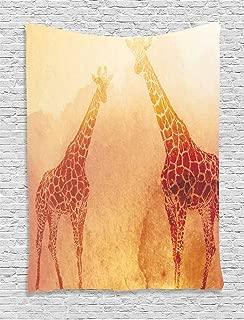 Ambesonne Safari Tapestry, Illustration Tropic Giraffes Tallest Neck Animal Mammal in Retro Vintage Print, Wall Hanging for Bedroom Living Room Dorm, 60