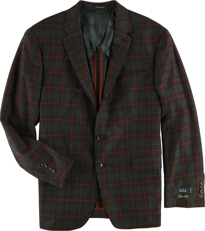 Tasso Elba Mens Plaid Two Button Blazer Jacket