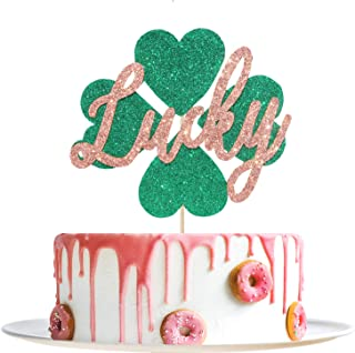 Glitter Lucky Cake Topper with Clover for Baby Shower, Baby's First Birthday, Happy St. Patrick's Day, Good Luck, Shamrock, Irish Festival Theme Party Decoration