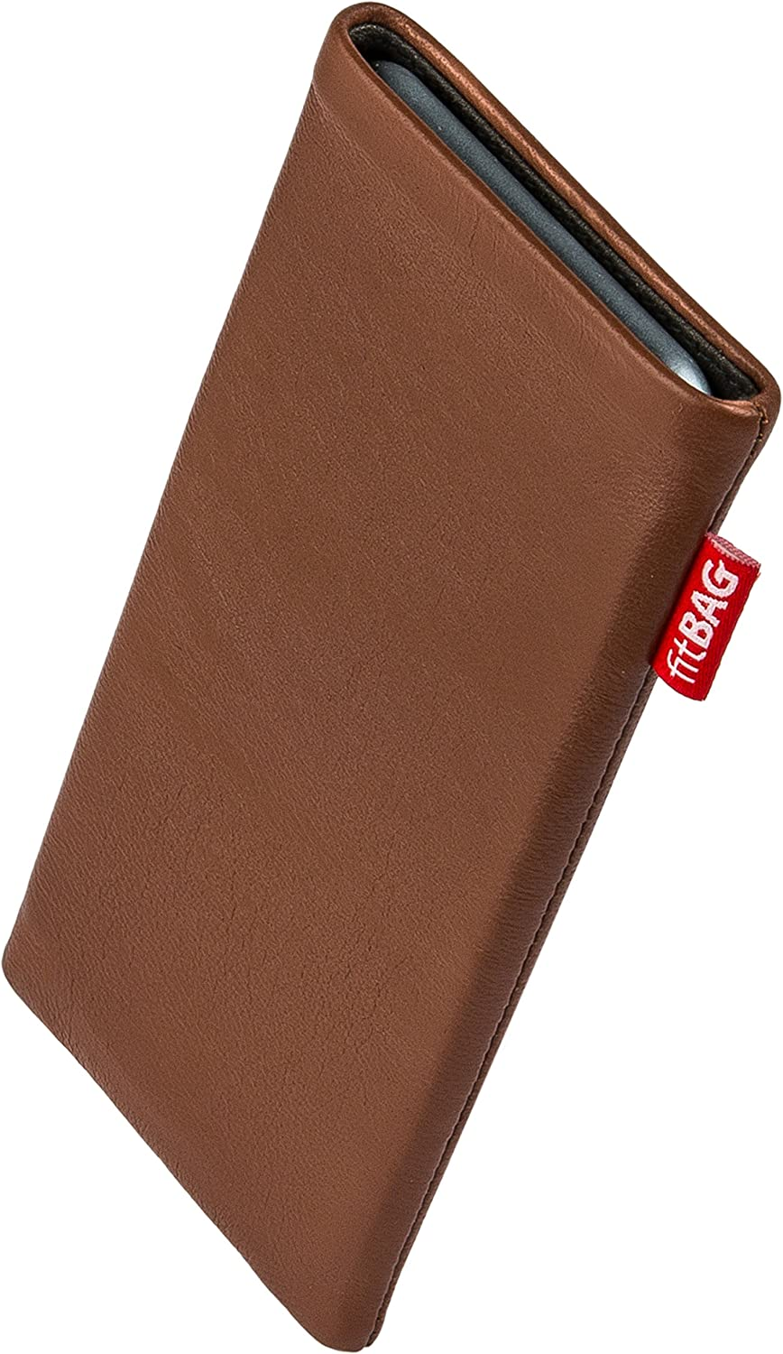 fitBAG Beat Brown Custom Tailored Sleeve for Apple iPhone 8 / SE 2 (2020) | Made in Germany | Fine Nappa Leather Pouch case Cover with Microfibre Lining for Display Cleaning