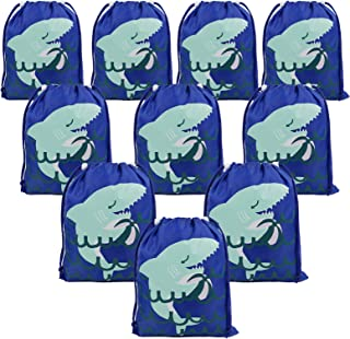 Shark Party Supplies Favors Bags for Kids Boys Girls, 10 Pack Drawstring Goodie Treat Bags for Birthday Party Gifts