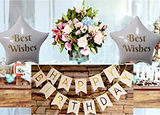 PartyRegion -USA SELLER Assembled Happy Birthday Banner,White and Gold Birthday Decorations,Birthday Party Decorations,Happy Birthday Foil Baloons & Party Supplies package,Shiny gold garland