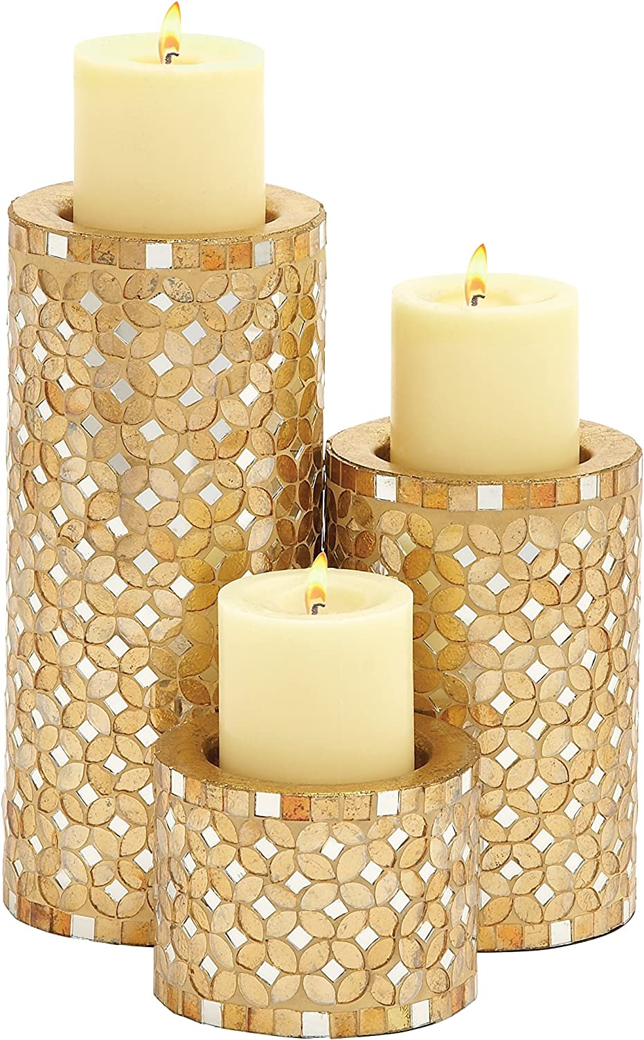 National products Deco 79 23897 Metal Mosaic Candle Holder 3 of H Set Translated 11