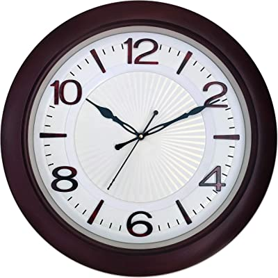 Elica Home and Office Round Analog Sweep Silent Wall Clock Big Size (Red)