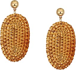 """3"""" Gold Ball Post Top with Light Brown Rattan Oval Drop Earrings"""