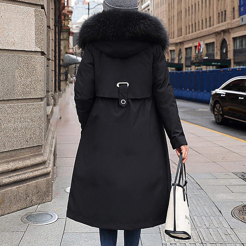 TUDUZ-Damen Lang Winter Mantel mit Kapuze Verdicken Warm Parka Schlank Jacke Steppjacke Winterjacke Kapuzemantel Winterparka Trenchcoat Schwarz