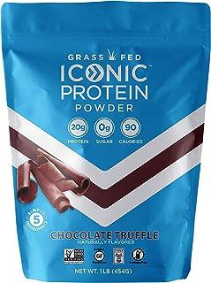 Iconic Protein Powder, Chocolate Truffle, 1 Lb (17 Serving)   Sugar Free, Low Carb Protein Shake   20g Grass Fed Whey Protein & Casein   Lactose Free, Gluten Free, Kosher, Non-GMO   Keto Friendly