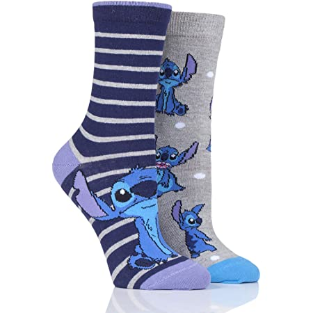 SOCKSHOP Disney Ladies Lilo and Stitch Cotton Socks Pack of 2