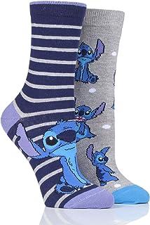 Sockshop - Calcetines de algodón para mujer (2 unidades), diseño de Lilo y Stitch