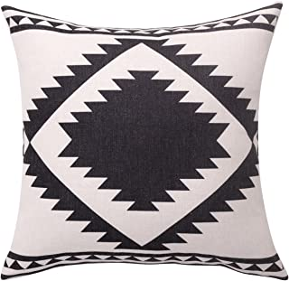 BreezyLife Aztec Throw Pillow Covers Geometric Decorative Pillow Cases Linen Square Cushion Covers for Sofa Couch Farmhouse Outdoor 18X18 Inches