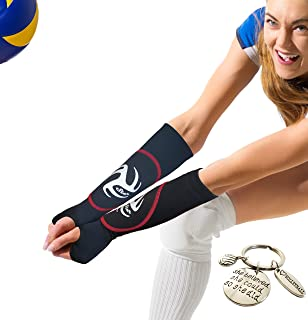 Volleyball Padded Arm Sleeves for Youth Girls and Boys | Reduce Forearm Pain and Indicate Perfect Spot to Hit The Ball | Great Way to Practice Passing | Includes Volleyball Keychain As a Gift |