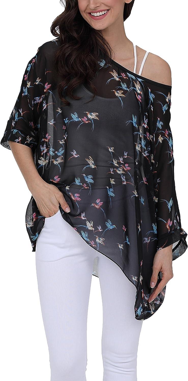Vanbuy Women Summer Floral Printed Shirt Batwing Sleeve Top Chiffon Poncho Casual Loose Blouse