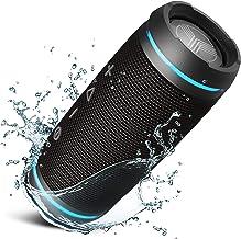 TREBLAB HD77 - Altavoz Bluetooth ultra premium ? Sonido envolvente HD de 360 °, emparejamiento dual inalámbrico, estéreo de 25 W, graves fuertes, batería de 20 H, IPX6 impermeable, deportes al aire libre, portátil diente azul