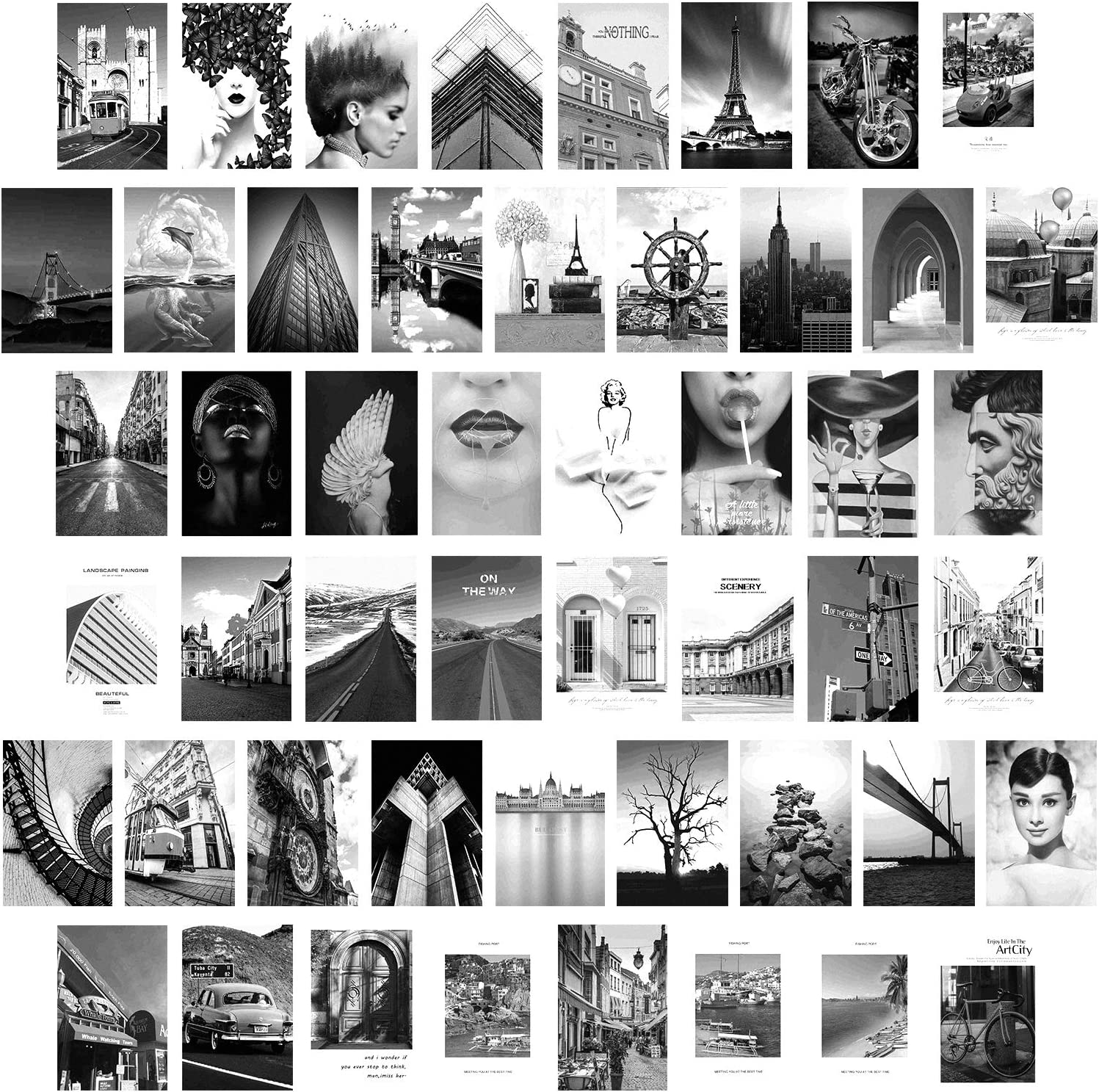 collage kit for wall aesthetic art boho room decor bedroom teen girls Women black and white Vsco Trendy cute photo things posters Indie Plants (50 Set 4x6 inch)