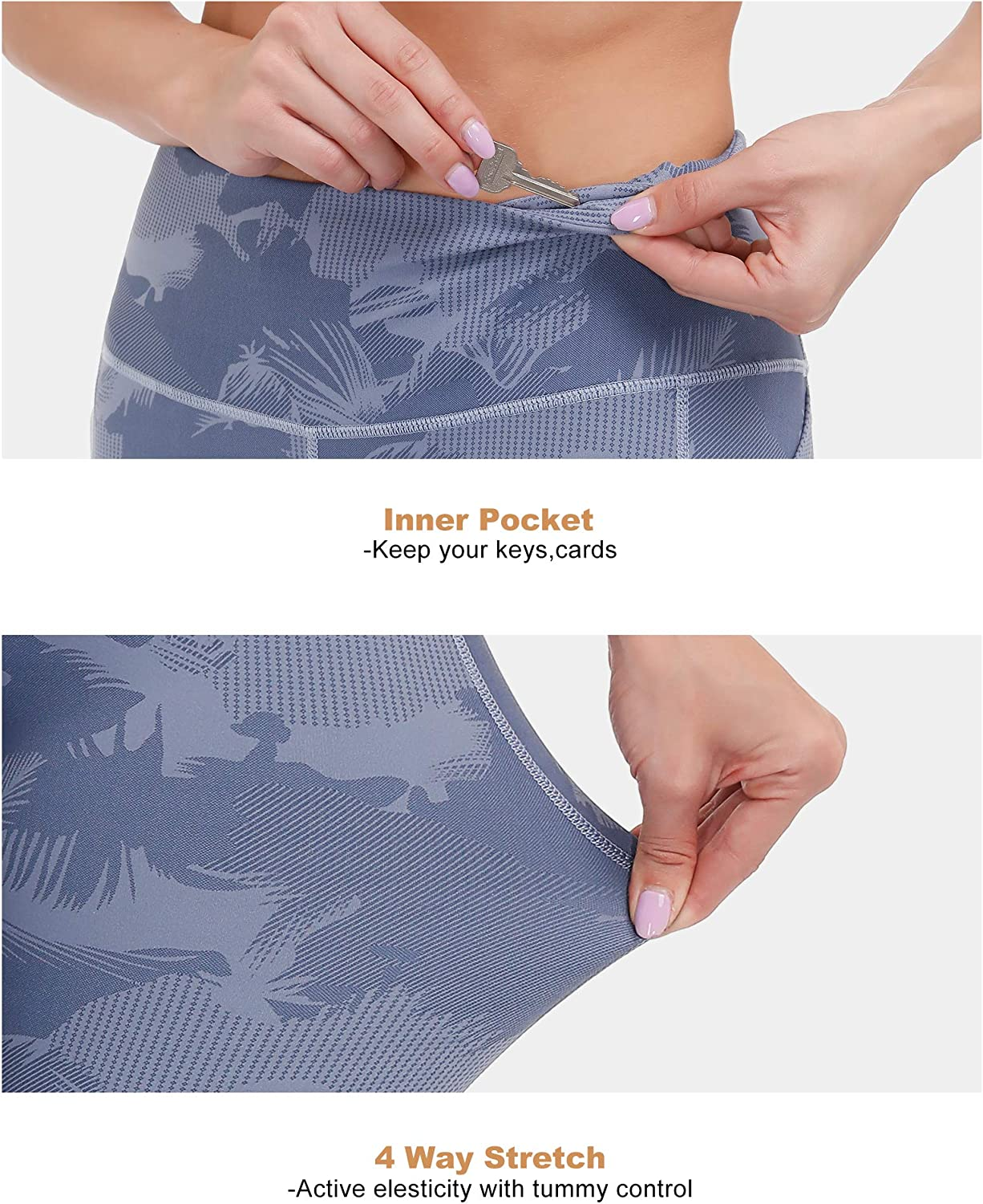 ALONG FIT Printed Yoga Pants with Pockets for Women Capri Print Leggings Workout Yoga Tights