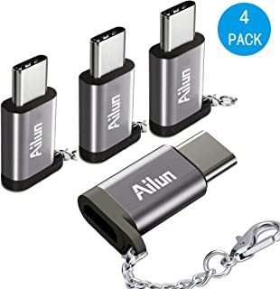Ailun Type C Adapter,Micro USB to USB C Adapter,[4Pack], Small with Keychain,Sync and Charge,for Galaxy S9/S9+,MacBook,ChromeBook Pixel,Nexus 5X,Nexus 6P,Nokia N1 and Other Type C cable Devices[Grey]