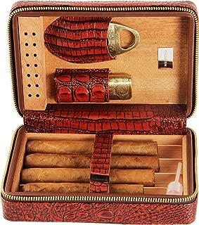 CIGARISM Crocodile Style Genuine Leather Cigar Travel Case Humidor (Brown Crocodile)