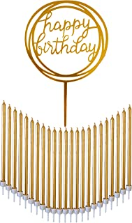 24 Count Tall Thin Metallic Gold Slow Burning Birthday Candles in Holders with Matching Elegant Classy Cake Topper for Special Custom Birthday Cake Decorations by Dream VZN