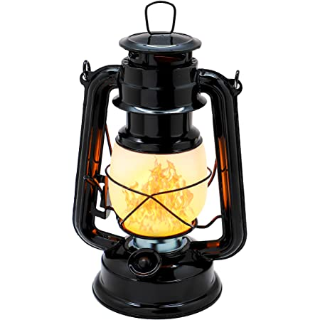 YAKii Flame Effect Vintage Style 17-LED Metal Oil Lamp,Hurricane Lantern