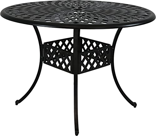 Sunnydaze Round Patio Dining Table - Outdoor Durable Cast Aluminum Construction - Decorative Crossweave Design - Outside Patio Furniture with Umbrella Hole - Perfect for Porch or Poolside - 41-Inch