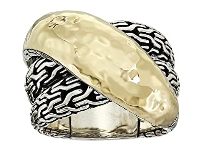 John Hardy Classic Chain Hammered Crossover Ring (18K Gold/Silver) Ring