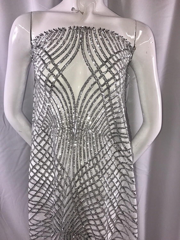 Silver sale Venom Diamond Web Miami Mall Embroider With On Mesh- White Sequins A