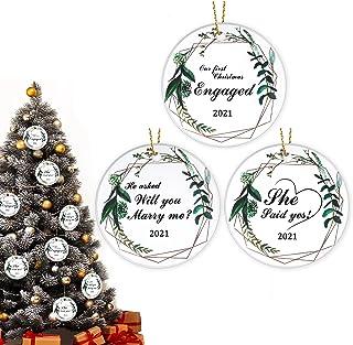 3 Pieces Christmas Wedding Ornament Xmas Tree Ceramic Hanging Ornaments Our First Christmas Wedding Ornament 2021 Bridal S...