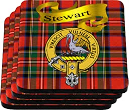 Scottish Clan Stewart Made in USA on Cloth topped rubber Coaster Set of 4
