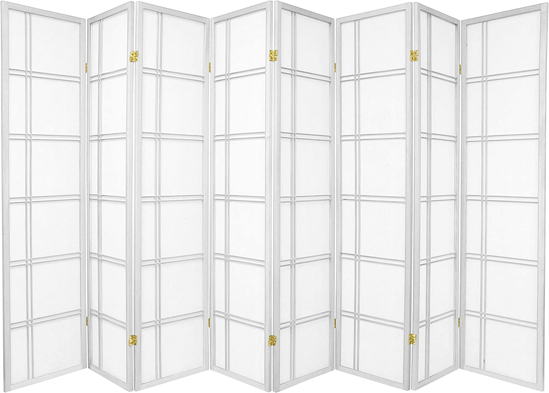 Oriental Furniture 6 ft. Tall Double Cross Shoji Screen - White - 8 Panels