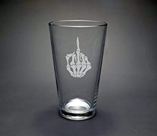 Skeleton Middle Finger Pint Glass