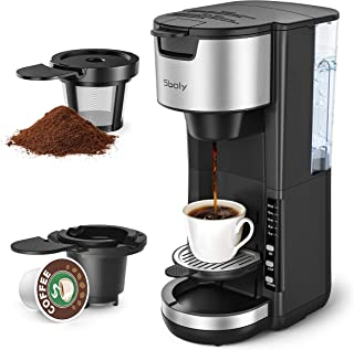 Sboly Single Serve Coffee Maker, 2-Way Coffee Machine for K-Cup Pods & Ground Coffee, Compact Coffee Brewer with 5 Brew Size, 30 oz Removable Reservoir, and Adjustable Drip Tray