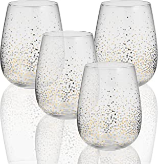 Circleware 76823 Gold Confetti Stemless Wine Glasses, Set of 4, Drinking Glassware for Water, Juice, Beer, Liquor and Best Selling Kitchen & Home Decor Bar Dining Beverage Gifts, 18.5 oz