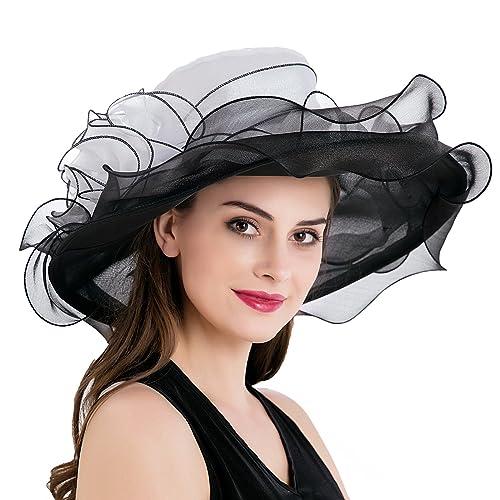 4967c488e2f Dantiya Women s Kentucky Derby Church Summer Organza Wide Brim Party  Wedding Hat