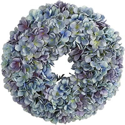 Nearly Natural 16in. Hydrangea Artificial Wreath, Blue