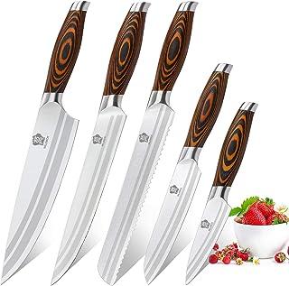 WILDMOK 5 pièces Ensemble de Couteaux de Cuisine Professionnel, Set Couteaux de Chef, Couteaux de Cuisine en Allemand à Ha...