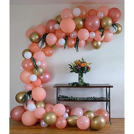 W Orange 100 pcs Pink BCARICH Pastel Balloons Arch Garland Yellow Rose Gold
