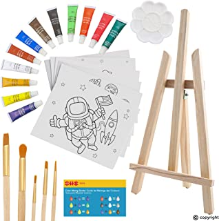 ETI Toys, 26 Piece Kids Art Painting Set with Wood Easel, 6 Space Exploration Themed Canvases, 12 Color Acrylic Paints, 5 Paint Brushes, Palette. Arts Studio for Artist Children Ages 6+ Years Old.