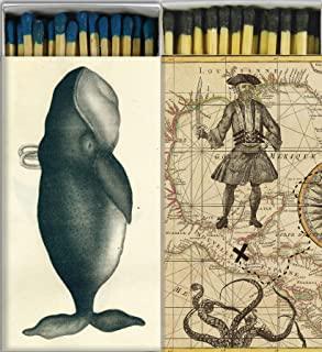 Decorative Match Boxes Whale and Pirates with Long Kitchen Matches Great for Lighting Candles, Grills, Fireplaces and More | Set of 2 Large Match Boxes