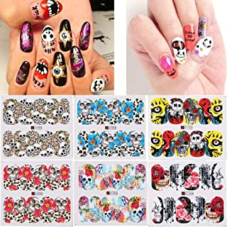 48 PCS Nail Sticker, Witspace Halloween DIY Nail Art Letter/Skeleton/Skull Scary and Fashionable
