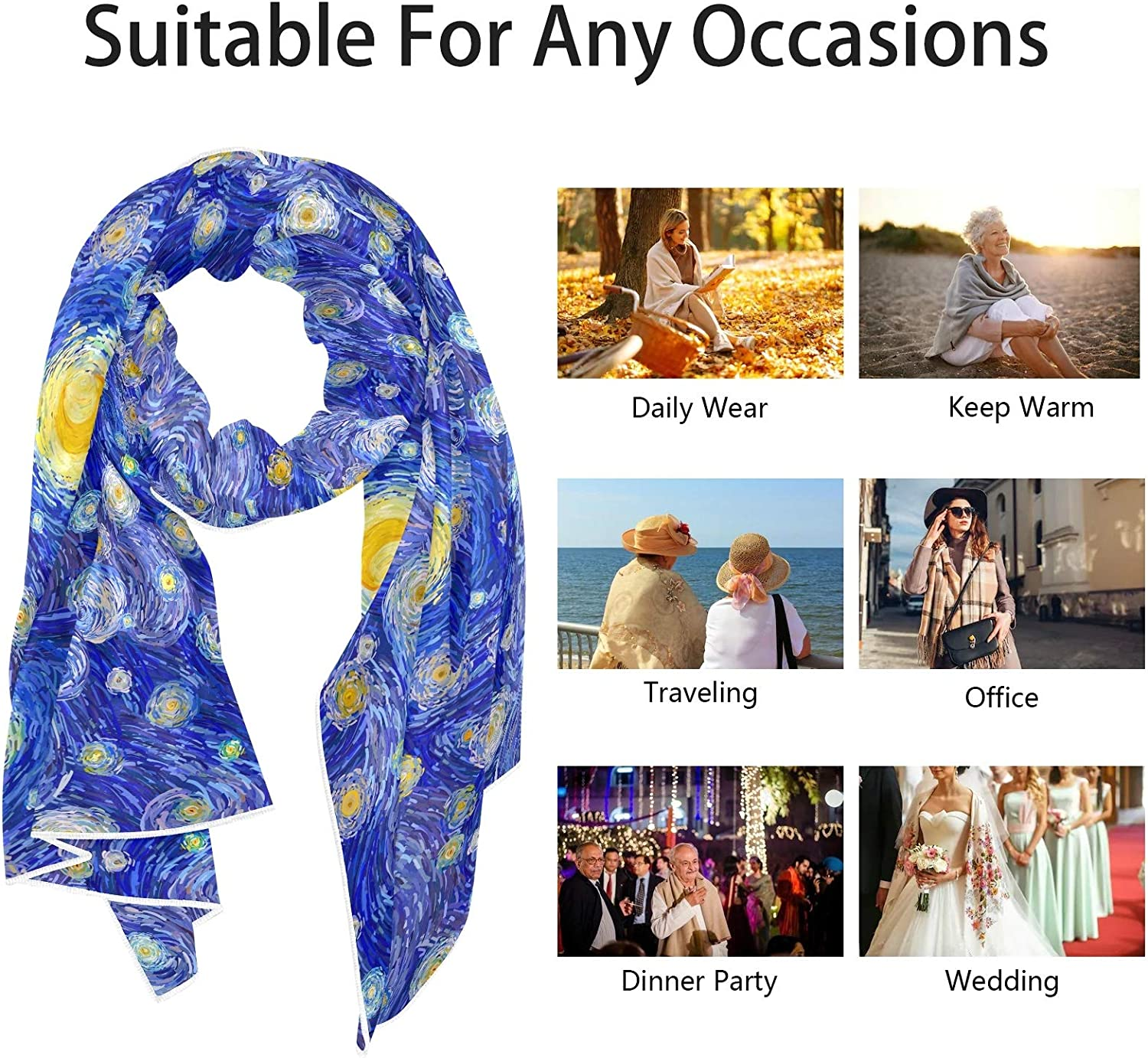 Scarf for Women and Men Glowing Moon And Starry Sky Shawl Wraps Blanket Scarf Warm soft Winter Oversized Scarves Lightweight