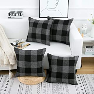 Yumin Throw Pillow Cases Black Grey Buffalo Checkers Plaids Throw Pillow Covers Cushion Cases Cotton Linen for Couch Bed Sofa Home Decor 18x18 Inch Set of 4