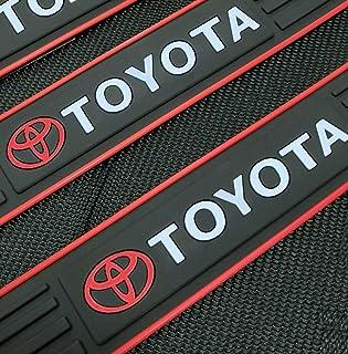 ULUSKY for Toyota Accessories Car Door Scuff Sill Cover, Panel Step Protectors, Premium Interior Non-Slip Anti Dust Guards 4-pc Set (Red Trim)