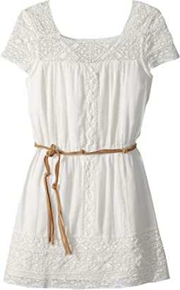 Ella Moss Girl Crochet Dress with Faux-Leather Belt (Big Kids)