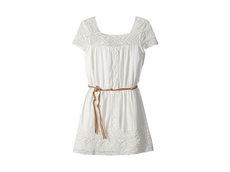 Ella Moss Girl Crochet Dress with Faux-Leather Belt (Big Kids) (Full Sail) Girl